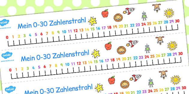 German Number Line 0-30 - german, number, line, 0-30, number line