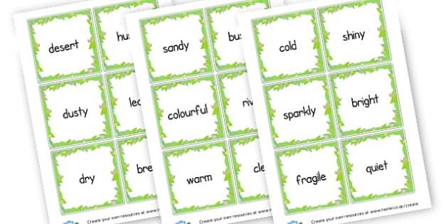 Setting Adjective Cards - KS2 Settings, Story Writing, English, Literacy, KS2 English