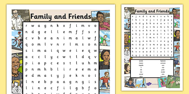 French Family and Friends Word Search - France, families, people