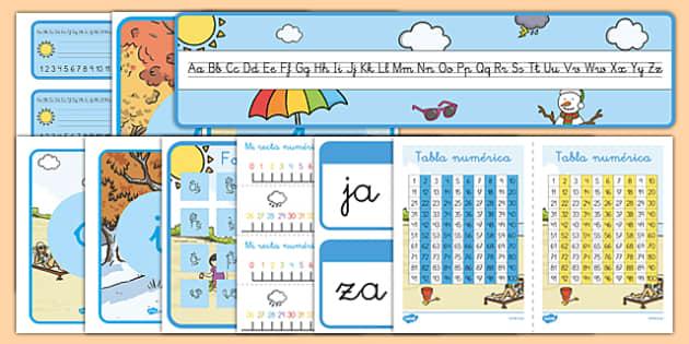 Pack de decoración de la clase - El tiempo y las estaciones del año