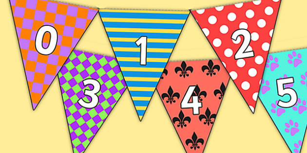 Pattern Themed 0 31 Bunting - patterned, patterned bunting, 0-31 on bunting, numberline bunting, patterned numberline bunting, bunting
