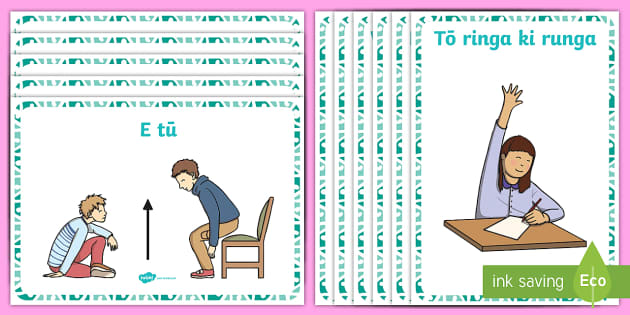 Classroom Commands Display Posters - Maori, instructions, directions, vocabulary, phrases, commands