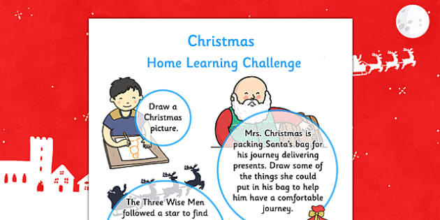 EYFS Christmas Home Learning Challenge Sheet Nursery FS1 - eyfs, christmas, home learning, challenge sheet, nursery