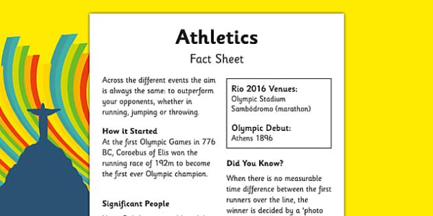 The Olympics Athletics Fact Sheet - the olympics, athletics, fact sheet