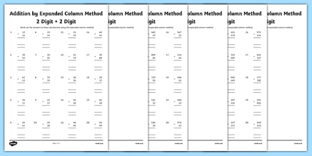 Year 3 Addition by Expanded Column Method Activity Sheet Pack – Column Addition Worksheets Ks2