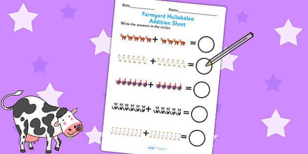 Up to 20 Addition Sheet to Support Teaching on Farmyard Hullabaloo - farm, add, maths
