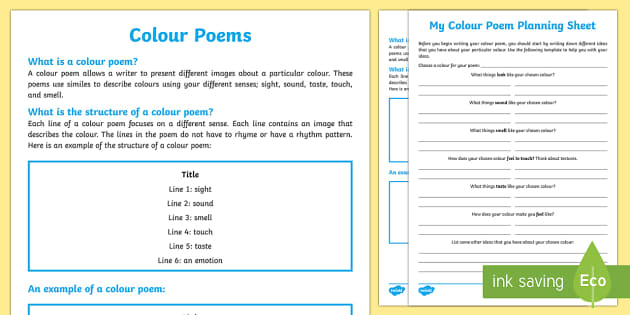 Colour Poem Writing Template - Literacy, examining literature, english, poetry, writing, poems, poetry, colour poems, australian cu