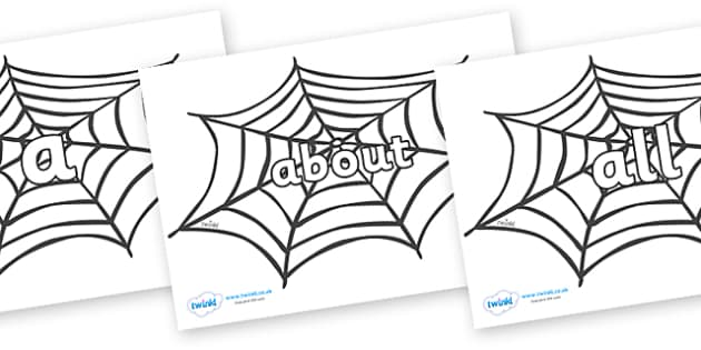 100 High Frequency Words on Spiders Web - High frequency words, hfw, DfES Letters and Sounds, Letters and Sounds, display words