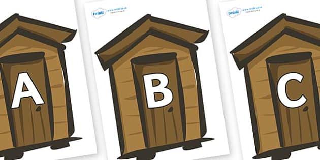 A-Z Alphabet on Sheds - A-Z, A4, display, Alphabet frieze, Display letters, Letter posters, A-Z letters, Alphabet flashcards