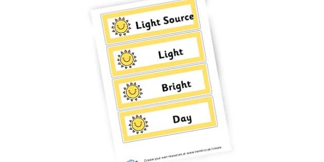 Light and Dark Display Words - Light & Dark Primary Resources, light and dark, topic, day, night