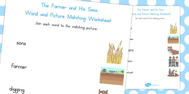 The Farmer and His Sons Word and Picture Match - australia, match