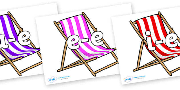 Modifying E Letters on Deck Chairs - Modifying E, letters, modify, Phase 5, Phase five, alternative spellings for phonemes, DfES letters and Sounds