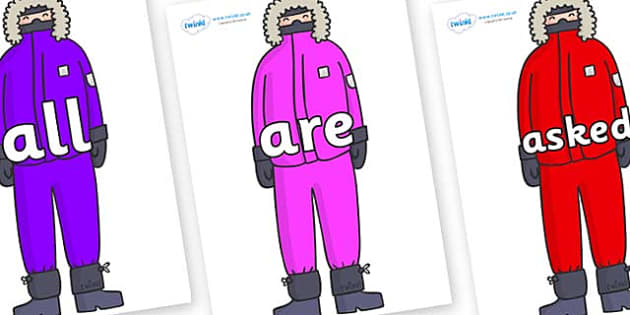 Tricky Words on Arctic Explorers - Tricky words, DfES Letters and Sounds, Letters and sounds, display, words