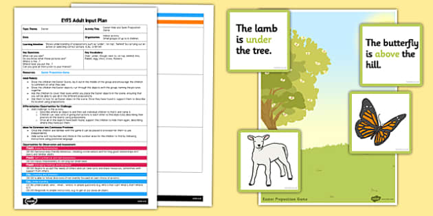 Easter Preposition Game EYFS Adult Input Plan and Resource Pack - EYFS, Early Years planning, adult led, Easter, turn taking