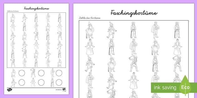 Faschingskostüme Arbeitsblatt: Erstes Zählen - Karneval, Fasching, Fastnacht, Arbeitsblatt,, Mathematik, 1. Klasse, Erstes Zählen ,German