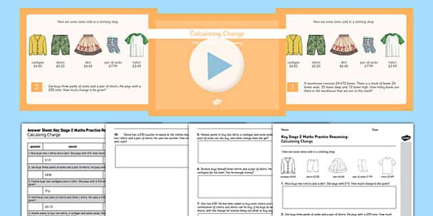 Reasoning Test Practice Calculating Change Resource Pack - KS2, Key Stage 2, Reasoning, Change, Money
