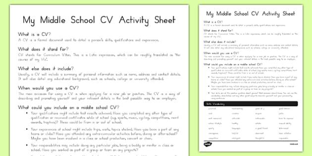 My Middle School CV Activity Sheet, worksheet