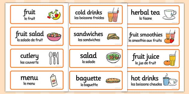 Healthy Eating Cafe Role Play Word Cards French Translation - role play , early years, key stage 1, key stage 2, mfl, modern foreign languages, science,