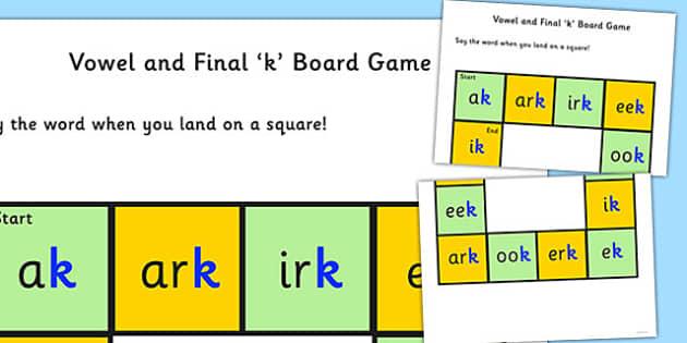 Vowel and Final 'K' Board Game - final k, sound, board game