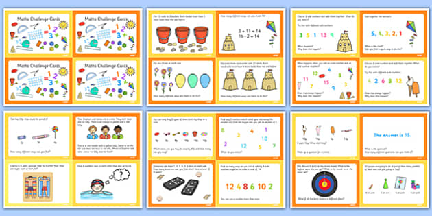 Summer Themed KS1 Maths Challenge Cards - summer, challenge, math