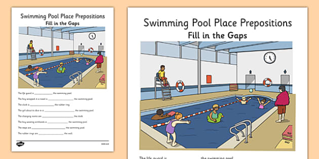 Swimming Pool Place Prepositions Fill in the Gaps - place prepositions, swimming pool