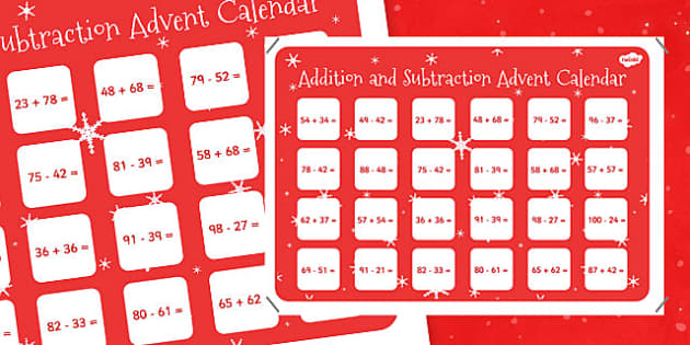 2 Digit Numbers to 100 Addition and Subtraction Advent Calendar - 2 digit, numbers, 100, addition, subtraction, advent, calendar