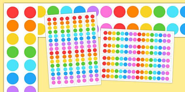Multicoloured Polka Dot A3 Display Borders - display borders, display
