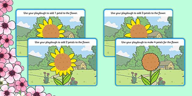 Counting Petals Playdough Mats - Fine motor skills, malleable, spring, plants