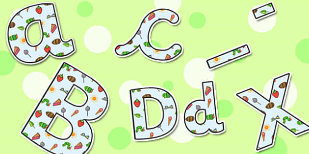 Small Display Lettering to Support Teaching on The Very Hungry Caterpillar - the very hungry caterpillar, display lettering, display, lettering, lettering for display, literacy
