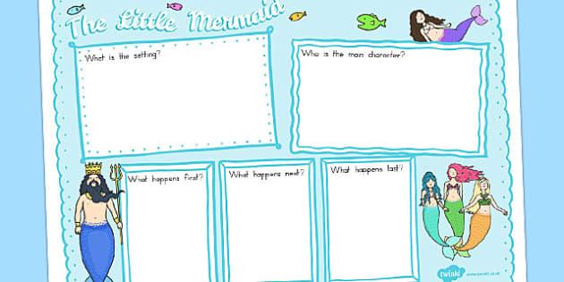 The Little Mermaid Story Review Writing Frame - australia, little mermaid
