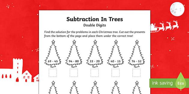 Double digit subtraction Christmas Activity Sheet-Australia