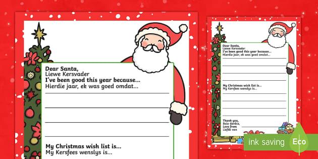 My Christmas Wish Letter to Santa English/Afrikaans - My Christmas Wish Letter to Santa Writing Template - christmas, wish, letter, father christmas, sant