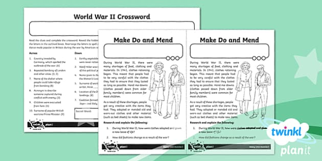 PlanIt History UKS2 World War II Home Learning Tasks