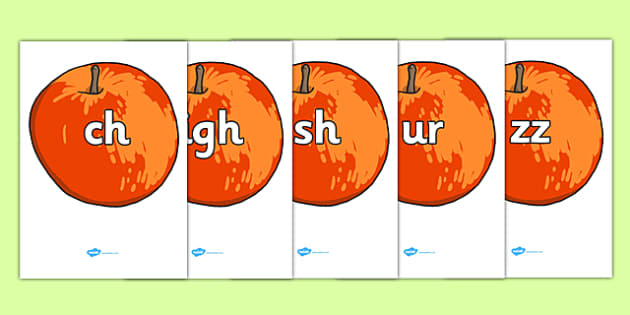 Phase 3 Phonemes on Red Apples - phase 3, phonemes, red, apples