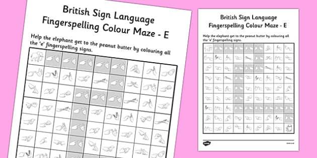 British Sign Language Fingerspelling Colour Maze E - colour, maze