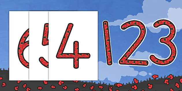 Remembrance Day Themed Display Numbers - number, displays, war