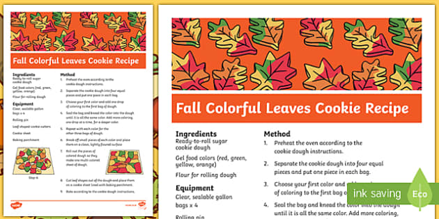 Fall Colorful Leaves Cookie Recipe