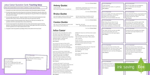 Julius Caesar Quotations Revision Resource Pack - Julius Caesar, revision, quotations, learning, memorising.