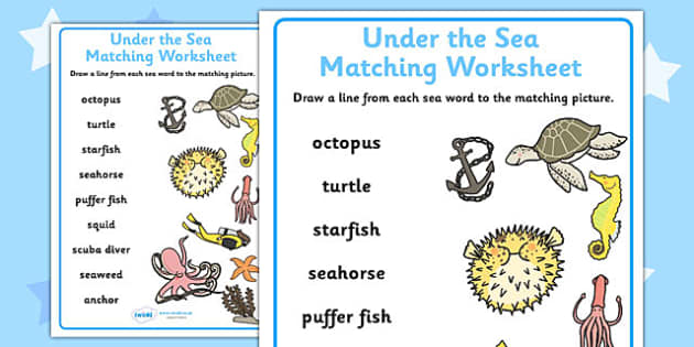 Under the Sea Differentiated Word and Picture Matching Worksheets