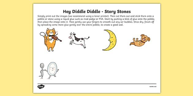 Hey Diddle Diddle Story Stones Image Cut Outs - Story stones, stone art, painted rocks, Nursery Rhymes, song