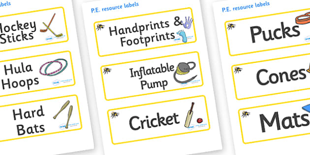 Bee Themed Editable PE Resource Labels - Themed PE label, PE equipment, PE, physical education, PE cupboard, PE, physical development, quoits, cones, bats, balls, Resource Label, Editable Labels, KS1 Labels, Foundation Labels, Foundation Stage Labels