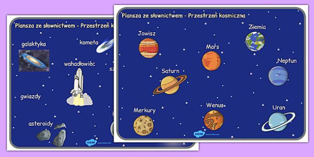 Plansza ze słownictwem Kosmos po polsku - planety, geografia