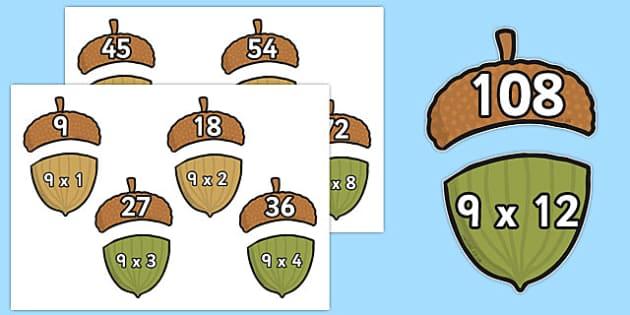 Multiplication 9x Acorn Matching Activity - multiplication, 9x, acorn, matching, activity
