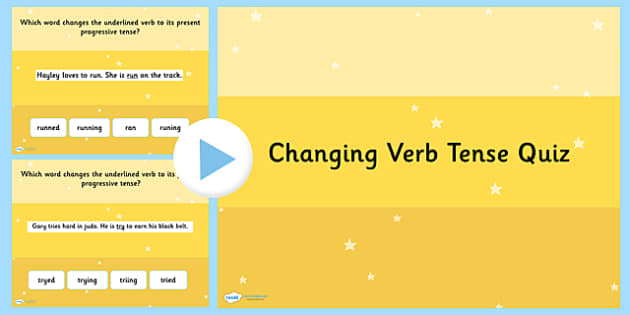Changing Verb Tense by Adding  ing SPaG PowerPoint Quiz - SPaG