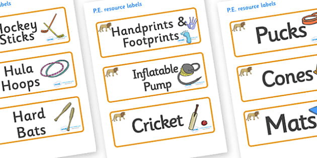 Lion Themed Editable PE Resource Labels - Themed PE label, PE equipment, PE, physical education, PE cupboard, PE, physical development, quoits, cones, bats, balls, Resource Label, Editable Labels, KS1 Labels, Foundation Labels, Foundation Stage Label