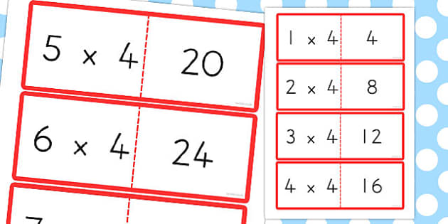 4 Times Table Cards - australia, times table, times tables, cards, 4, times
