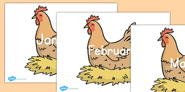 Editable Months on Chickens - editable, months, chickens, words