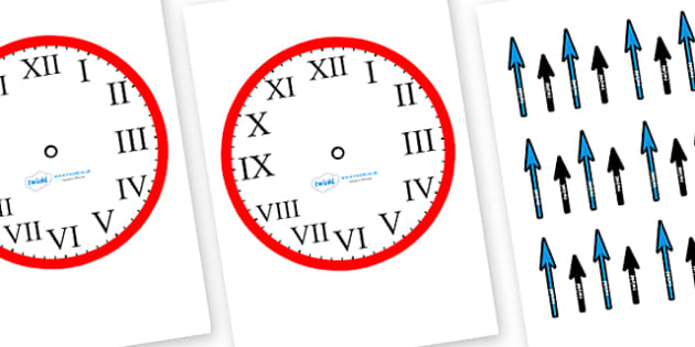 Roman Numerals Blank Clock with Hands-roman numerals, blank clocks, clocks, time, clock with hands, telling time, time activities, time games