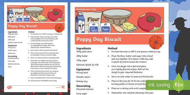 Remembrance Day Poppy Biscuit Recipe