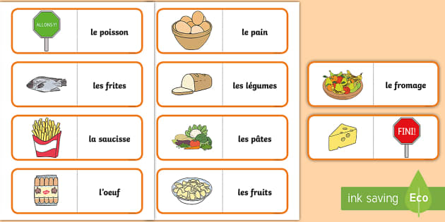 Different Foods Card Game French - French Games, french food, french card games, self-correcting games.,Scottish-translation